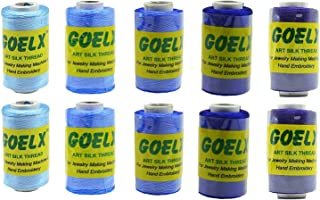 Goelx Silk Thread Shades of Navy Blue Royal Blue 10 Spools (2 Each in 5 Shades) for Jewelry, Tassel Making, Embroidery, Crafts, Shiny Soft Thread Spools