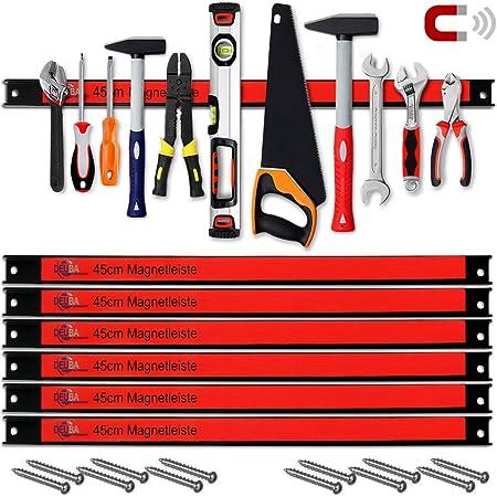 Deuba Set de 6 Tiras Magnéticas para herramientas de taller o cocina Carga máx por tira 23kg 45cm