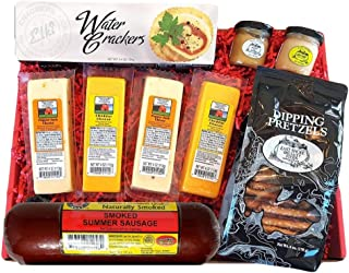 Specialty Gift Basket - features Smoked Summer Sausages, 100% Wisconsin Cheeses, Crackers, Pretzels & Mustard | A Great Snack or Gift Basket for Family & Friends.