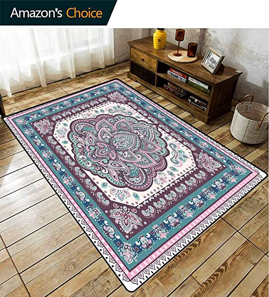 Bigdatastore Fruit Rug Pads Bohemian Hippie Arabic Paisley Oriental Design Durable Rugs Living Dinning Office Rooms Bedrrom Hallway Carpet 2 X 6