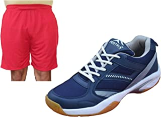 FOOTFIX Unisex Spectrum Navy (Non Marking) Gym, Badminton Sports Shoes with Free Shorts