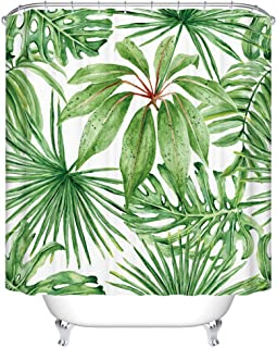 Goodbath Green Leaf Shower Curtains, Tropical Palm Leaves Waterproof Fabric Bathroom Bath Curtains, 72 x 72 Inch, Green