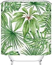 Goodbath Green Leaf Shower Curtains, Tropical Palm Leaves Waterproof Fabric Bathroom Bath Curtains, 72 x 72 Inch, Green