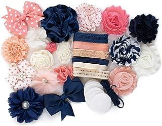 Oxford : DIY Headband Making Station Kit | Makes 12+ Unique Hair Accessories | Baby Shower Toddler Tween| Shabby Chiffon Craft Flowers | Peach, Navy, Cream