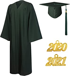 GraduationMall Matte Graduation Gown Cap Tassel Set 2020 and 2021 for High School and Bachelor