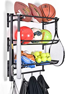 Sports Equipment Storage Rack for Baseball/Basketball/Football/Badminton/Golf/Yoga/Exercise Balls - Four Badminton Tennis ...