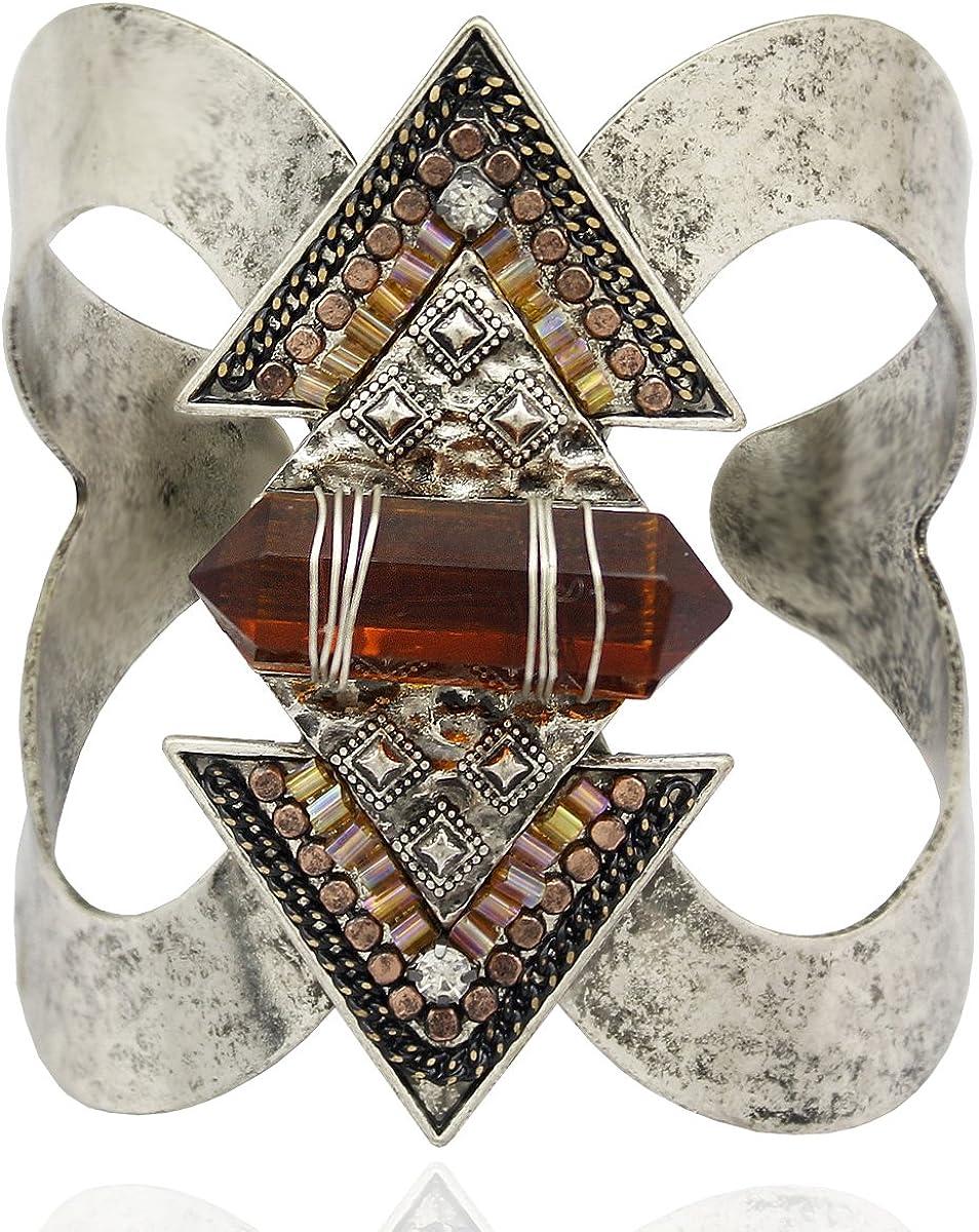 RechicGu Antique Western Indian Cowgirl Vintage Arrow Stone American Aztec Bracelet Bangle Cuff