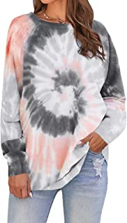 Womens Tie Dye Loose Pullover Sweatshirt Long Sleeve Crewneck Tops