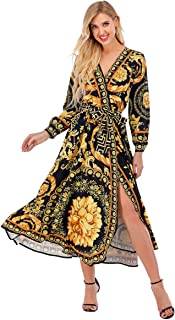 snow whilt Women's Printed Cross V Neck Dress Split High Flowwy Boho Long Maxi Dress ith Belt