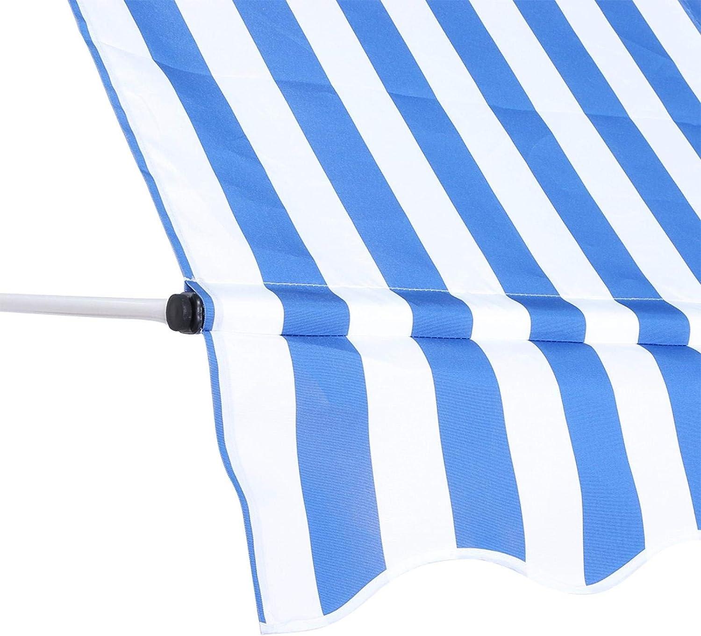 jard/ín terraza toldo enrollable con soporte para exterior balc/ón Toldo retr/áctil manual regulable en altura azul y blanco 1,5 x 1,2 m