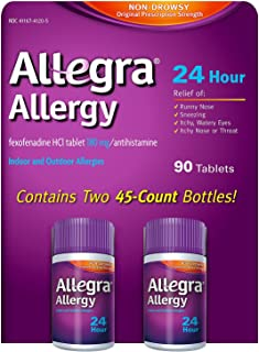 Allegra 24 Hour Fast Allergy Relief 180mg - 90 Tablets (45 Count - Pack of 2)