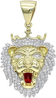 Men's 10K Solid Gold Diamond King Lion Head Pendant 1.2ctw by Luxurman