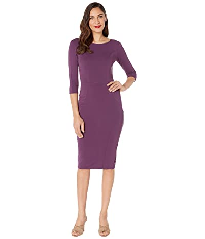 Unique Vintage 1960s Long Sleeve Stretch Mod Wiggle Dress (Purple) Women