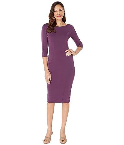 Unique Vintage 1960s Long Sleeve Stretch Mod Wiggle Dress (Purple) Women
