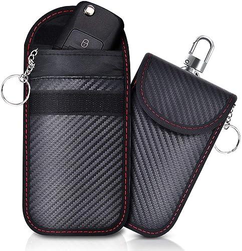Lot de 2 Mini Etui anti RFID Clé Voiture Portable, Pochette anti RFID Cle Voiture, Etui Blocage RFID pour Clef Voitur...