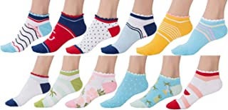 Eabern 10 Pair or 12 Pair Women's Cotton Sneaker Low Cut Ankle Socks
