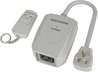 Magnasonic WRC101 Wireless Remote Control Home Automation Power Outlet Outdoor On/Off Switch with 100 Feet Range