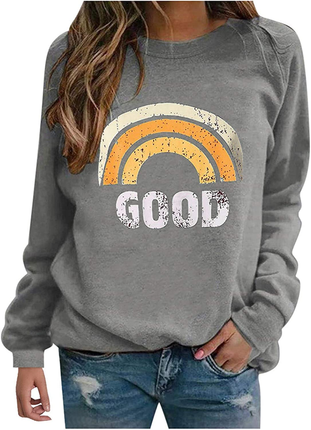 Sweatshirts for Women, Trendy Pullover Crewneck Long Sleeve Vintage Graphic Shirts Sweaters Tees Jumper Top