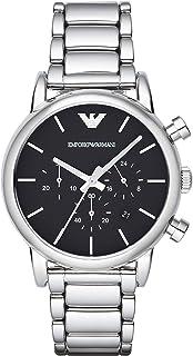 ساعة يد لويجي بمينا اسود مصنوع من الستانلس ستيل ونظام عرض انالوج للرجال من امبوريو ارماني - موديل AR1853
