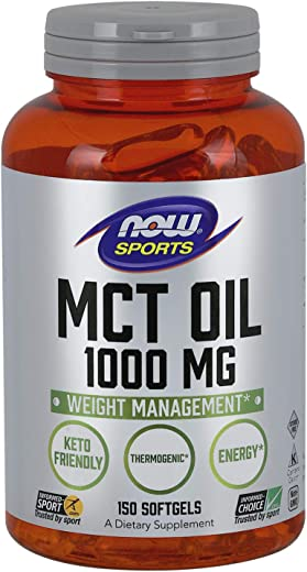 NOW Sports Nutrition, MCT (Medium-chain triglycerides)Oil 1000 mg, Weight Management, 150 Softgels