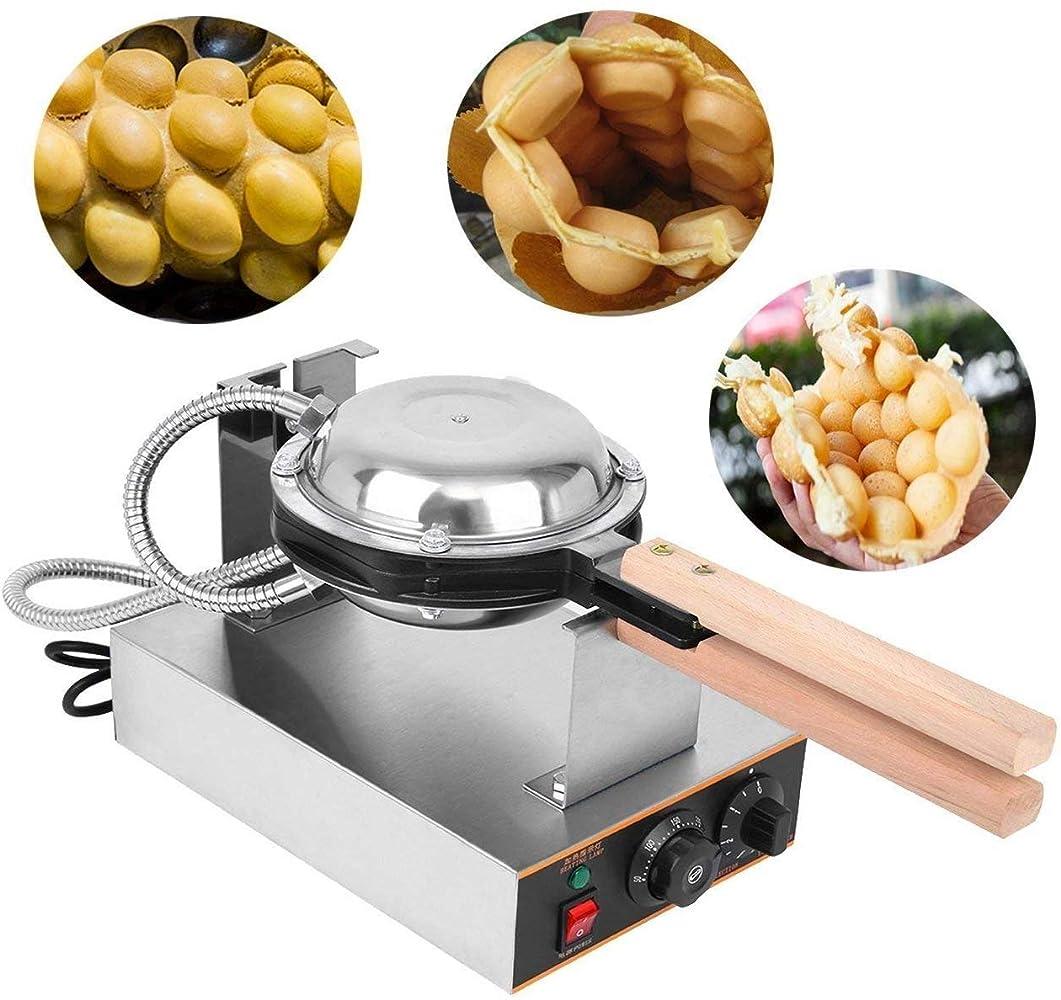 呪い協定定規電気卵ワッフルメーカー、ステンレス鋼ノンスティックバブル卵パフパンケーキオーブンパン焼き機家庭用および商業用