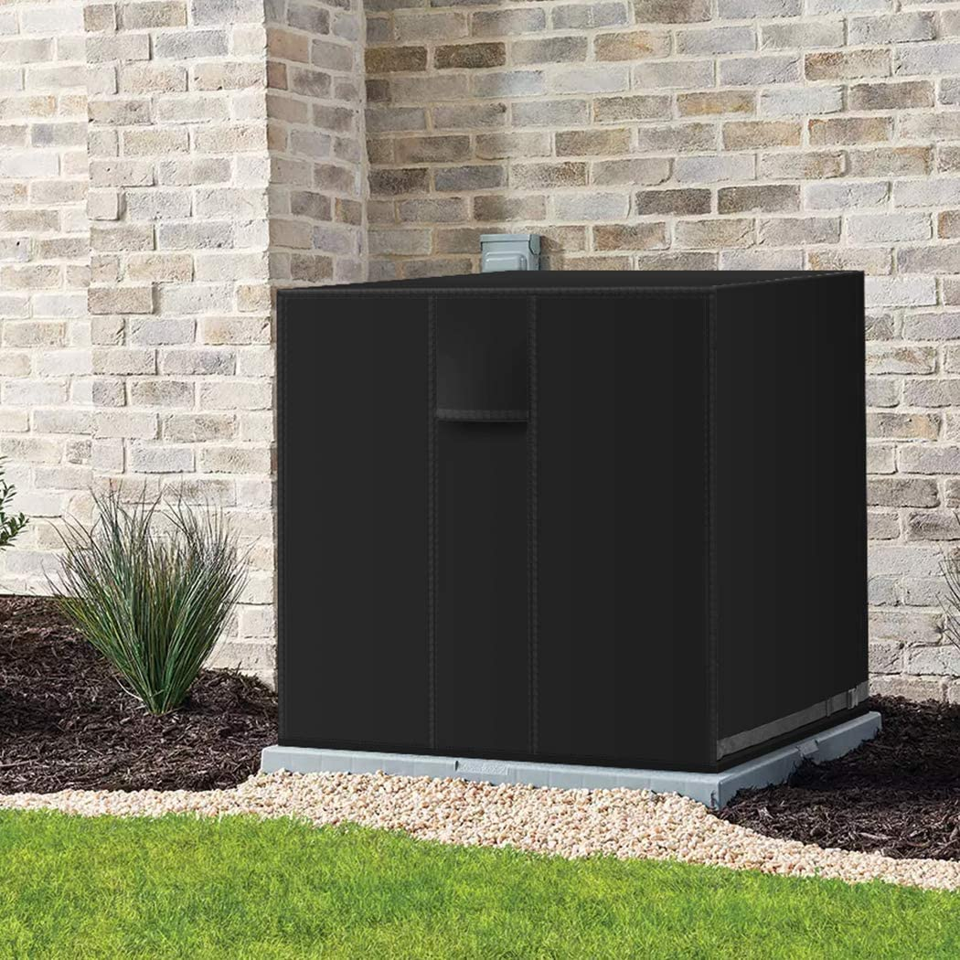 IPHUNGO Square Central Air Conditioner Cover Central AC Unit Covers for Outdoor Protection Durable Waterproof Breathable TPU Coating 26x 26 x 32, Black