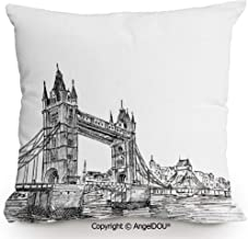 AngelDOU Fashion Sofa Cotton Linen Throw Pillow Cushion,Old Fashion London Tower Bridge Sketch Architecture British UK Scenery Art Print,Bed Office car Pillow Customized Accept.13.7x13.7 inches