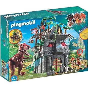 PLAYMOBIL Dinos 9429 Basecamp mit T-Rex und Lichteffekten, Ab 4 Jahren