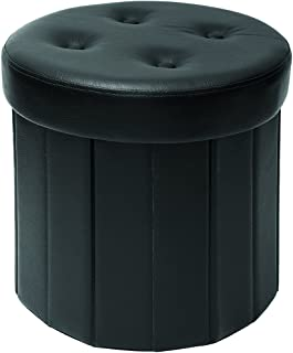 Fresh Home Elements Round Storage ottoman, 15 by 15 by 15-Inch, Black Faux Leather
