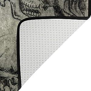 Naanle - Alfombra Antideslizante con diseño de Calavera para Sala de Estar, Dormitorio, Cocina, 120 x 160 cm, diseño de Calavera, 150 x 200 cm(5' x 7')
