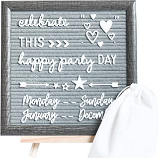 Rustic Framed Felt Letter Board – 324 White Characters and Cursive Word Pack, 10x10 Grey Changeable Letterboard, Wooden Table Stand, One Storage Pouch