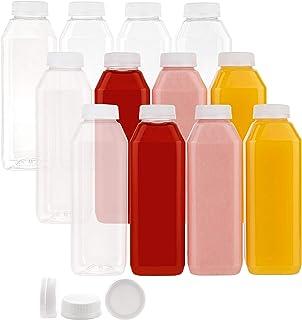 زجاجات بلاستيكية للاستعمال مرة واحدة سعة 16 اونصة مع اغطية، 12 عبوة، للماء وعصير الليمون والتفاح والبرتقال والحليب والمخفو...