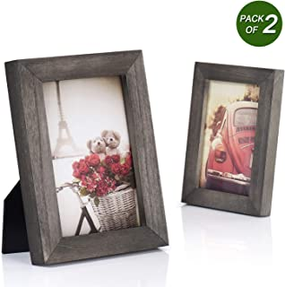 Emfogo 4x6 Picture Frames Photo Display for Tabletop or Wall Mount Solid Wood High Definition Glass Photo Frame Pack of 2 Weathered Grey