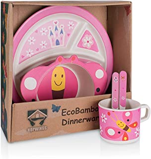 Bamboo Toddler Plates And Utensils - Eco-Friendly & Reusable Children's Dinnerware, Compostable & Biodegradable Small Dishes, Toddler Bowl Set Suitable for Camping