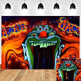 Horror Circus Haunted House Entrance Photography Backdrop Halloween Birthday Party Supplies Red Giant Evil Clown Hallowmas Scary Banner Decorations Vinyl 7x5ft Photo Booth Studio Props Background