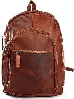 LECONI Rucksack retro Lederrucksack für Freizeit, Schule oder Alltag Wanderrucksack Vintage-Look Freizeitrucksack Damen & Herren Echt-Leder 32x45x18cm LE1017
