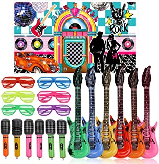25pcs 50s Rock Party Decorations Supplies Rock and Roll Party Backdrop Rock Star Toy Set,Inflatable Guitars Microphones Shutter Shading Glasses Music Party Props for 1950s Party Birthday Decor