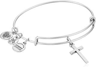 Divine Guides Expandable Bangle Bracelet for Women, Cross Charm, 2 to 3.5 in