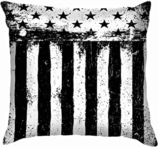 chang jin you Stars Stripes Monochrome Negative Photocopy American Flag Flag Throw Pillow Covers Cushion Cover Pillowcase 18x18 inch