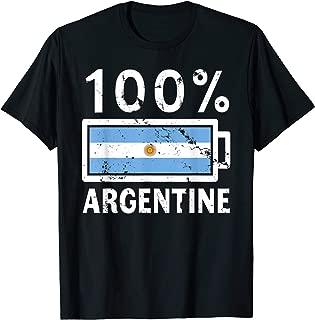 Argentina Flag   100% Argentine Battery Power Tee T-Shirt