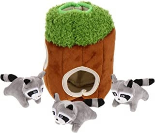 Balacoo Dog Squeaky Toy Including 3pcs Stuffed Animal Toys and 1pc Plush Tree Cave Hide Seek Puzzle Interactive Dog Toys f...