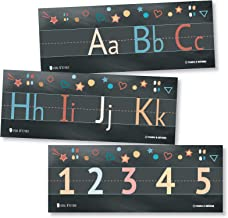 Alphabet and Numbers Classroom Wall Line for Teaching ABCs Black Young N Refined (Laminated)