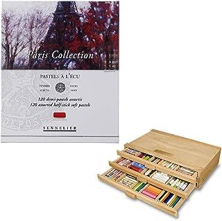 Sennelier Pastels Art Gift Set & 3 Drawer Wood Pastel Storage Box - Sennelier Half Stick Pastel Paris Collection Colors - 120 ct. Set