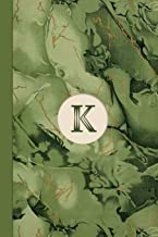Monogram K Marble Notebook (Leafy Green Edition): Blank Lined Marble Journal for Names Starting with Initial Letter K