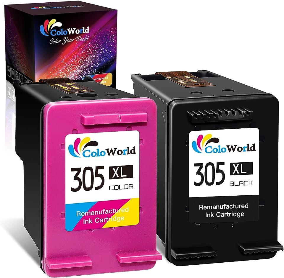 ColoWorld Remanufactured 305 XL Schwarz Farbe Druckerpatronen für HP 305 305XL Multipack Tintenpatronen für HP DeskJet 2710 2720 2722 DeskJet Plus 4100 4130 Envy 6032 6020 Envy Pro 6430 6420 Druckers