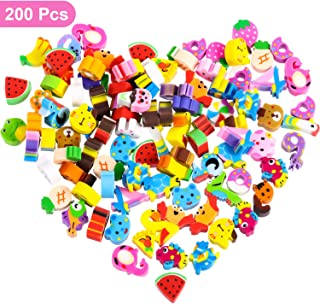 200 Pieces Mini Erasers Assortment, Colorful Cake, Digital and Animal Assorted Eraser Mini Novelty Erasers for Party Favor...