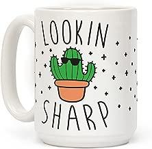 LookHUMAN Lookin Sharp White 15 Ounce Ceramic Coffee Mug