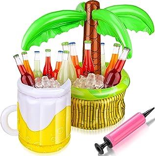 2 Pezzi Refrigeratori Gonfiabili con Pompa Include Raffreddatore della Palma e della Birra Gonfiabile per Feste in Piscina...