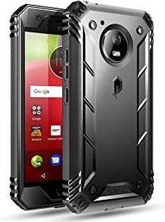 Poetic Revolution Moto E4 Rugged Case with Hybrid Heavy Duty Protection and Built-in Screen Protector for Moto E4 /Motorola Moto E 4th Generation Black
