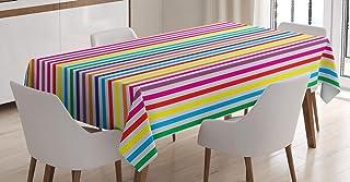 ABAKUHAUS Coloré Nappe, Rayures Verticales Imprimer, Linge de Table Rectangulaire pour Salle à Manger Décor de Cuisine, 14...
